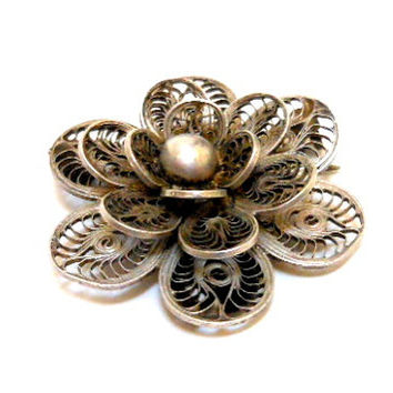 Vintage Sterling Silver Filigree Brooch