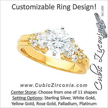 Cubic Zirconia Engagement Ring- The Leticia (Customizable 9-stone with Tri-cluster Round and Dual Marquise Accents)
