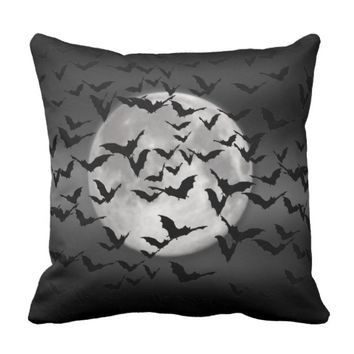 Bats and a Full Moon Throw Pillow
