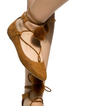 Cognac Faux Suede Lace Up Pointed Toe Pom Pom Flats @ Cicihot Flats Shoes online store:Women's Casual Flats,Sexy Flats,Black Flats,White Flats,Women's Casual Shoes,Summer Shoes,Discount Flats,Cheap Flats,Spring Shoes
