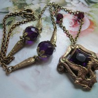 Vintage Deco Czech Amethyst Crystal Dragon Necklace