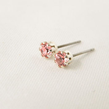 Pink Gemstone Silver Studs- Tiny Gemstone Stud Earrings, Silver Plated, 4mm, Bridesmaid Gift, Gift for Her, Fall Jewelry, Silver Earrings