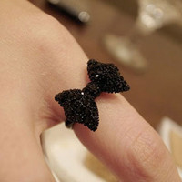 Retro black full diamond bow ring flash diamond ring can be adjusted [0647] - $0.74 : Favorwe.com Supply all kinds of cheap fasion jewelry