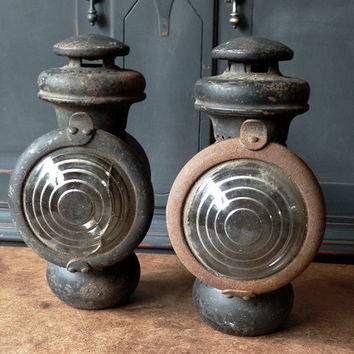 Model T Ford Side Parking Light Lamp, 1914, Set of 2, Kerosene Gas, Salvaged, Industrial, Steampunk