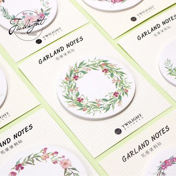 30pages/pc Garland Notes Wreath Memo Pad Sticky Notes Bookmark School Office Supply Note Paper Scrapbooking Sticker