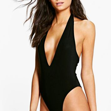 Tall Karena Extreme High Leg Plunge Thong Body | Boohoo