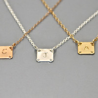 Initial necklace, letter necklace,  personalized necklace, Rose Gold necklace,  Gift for her, gift for him, Initial square pendant