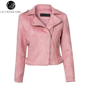 Trendy Lily Rosie Girl Casual Zipper Suede Leather Jacket Short Coats Autumn Winter 2017 Basic Jacket Women Outerwear Slim Streetwear AT_94_13