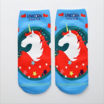 1 Pair Red Hair Unicorn Low Cut Liners Socks Cute Casual Ankle Fashion Style