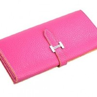 Ecosusi NEW Fashion Women's Pu Leather Wallet Clutch Purse Credit Card Lady Long Handbag(Pink)