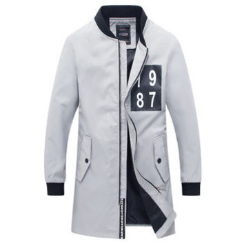 Men Medium Long Parkas Jaqueta Masculina Veste Homme Parkas Men's Casual Slim Fit Zipper Jackets Coats SM6