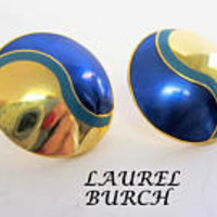 Laurel Burch Earrings, Vintage Pierced Blue, Gold Tone Swirls.