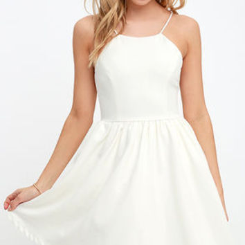 Chic Freely Ivory Backless Skater Dress