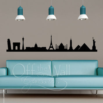 Landmark Skyline vinyl wall decal vinyl wall art modern historical travel sticker