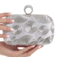 Casual Silver Beading Evening Clutch Bag