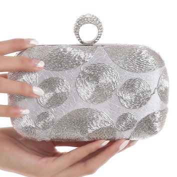 Streetstyle  Casual Silver Beading Evening Clutch Bag