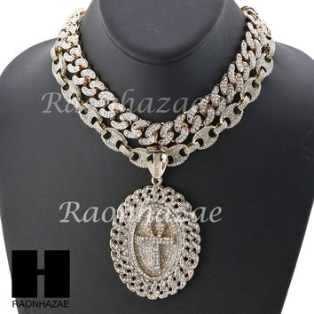 """Iced Out ANKH Oval Pendant 16"""" Iced Out Choker 18"""" Puffed Gucci Chain Set G39"""
