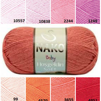 NAKO baby yarn, red orange pink pattern yarn, hand knitting  yarn, crochet yarn, knitting supplies, bamboo yarn, knitting yarn, baby yarn