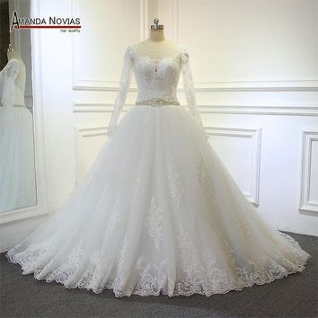 robe de soiree 2017 Lace Long Sleeves Beading Belt Custom Order Wedding Dress
