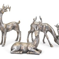 Large Gold and Silver Christmas Reindeer - Set of 3