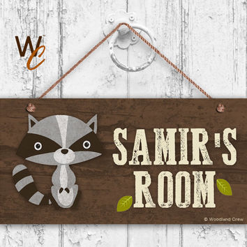 "Raccoon Bear Sign, Woodland Personalized Sign,Kid's Name, Kids Door Sign, Baby Nursery Decor, Weatherproof, 5"" x 10"" Sign, Made To Order"