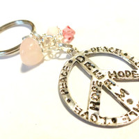 Pink Peace Sign Keychain, Cool Key Chain, Pink Accessories, Breast Cancer Jewelry