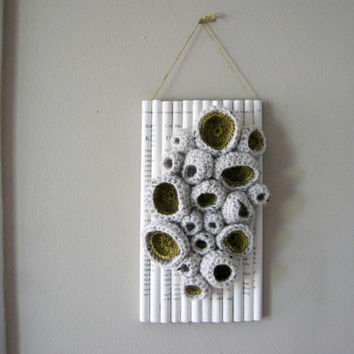 Modern Fiber Art Crochet Soft Sculpture, Bibliophilia Series, Natural Wool