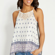 tank with chiffon and lace front
