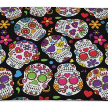 Bath Rug Mat No Slip Microfiber Memory Foam, Day Of The Dead Sugar Skull, 34x21