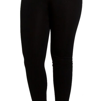 Candy Rain High Waisted Fleece Lined Leggings in Black BLPT7-BLK