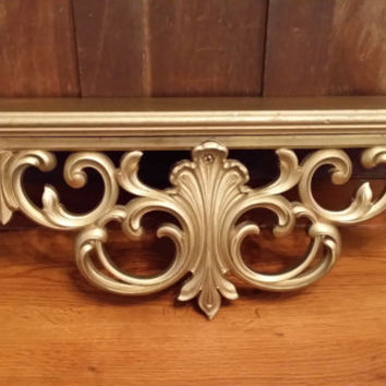 Vintage Ornate Gold Hollywood Regency Style Wall Shelf MCMLXIII 4600