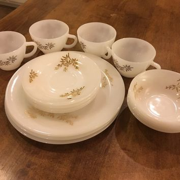 Set of 16 - Federal Glass White Milk Glass Meadow Gold Plates Bowls Cups Saucers