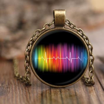 LGBT Pride Necklace by Living Gay | Gay Rainbow Pulse Necklace, Gay Pride Necklace, Lesbian Necklace