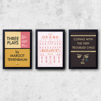 Wes Anderson Poster Set - 3 prints inspired by fictional books! The Grand Budapest Hotel, Royal Tenenbaums, Moonrise Kingdom