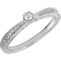 Sterling Silver Cubic Zirconia Vintage-Style Promise Ring