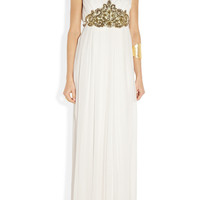 Notte by Marchesa | Embellished pleated silk-chiffon gown | NET-A-PORTER.COM