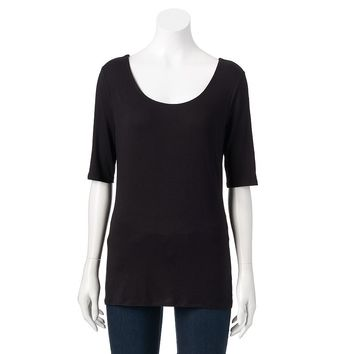 Jennifer Lopez Twist-Back Scoopneck Tee