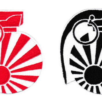 Cool JDM Grenade Patch Japanese Rising Sun Flag Motorcycle 9cm
