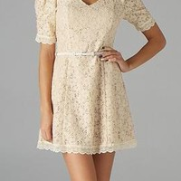 Royal Introduction Floral Embroidered Belted Dress in Ivory | Sincerely Sweet Boutique