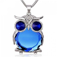 Faux Crystal Night Owl Pendant Sweater Chain - Sapphire Blue