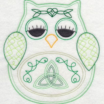 Owl with Celtic Knotwork Vintage Styled EMBROIDERED Women's Apron Great Mother's Day Gift