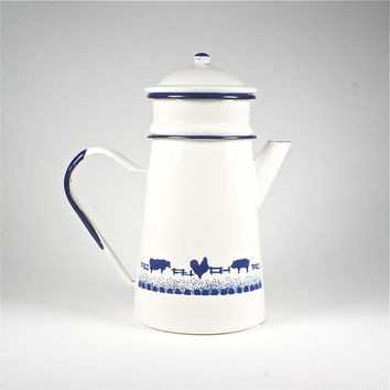 classic french vintage enamel coffee pot, french country farmyard detail,