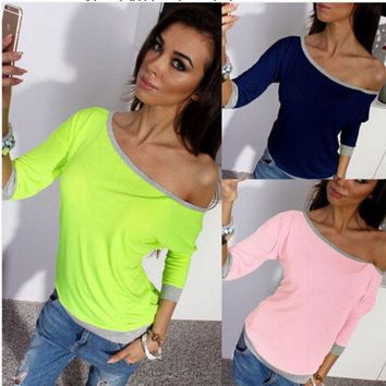 ONETOW Autumn Casual Knit Three-quarter Sleeve Round-neck Women's Fashion T-shirts [4962086148]