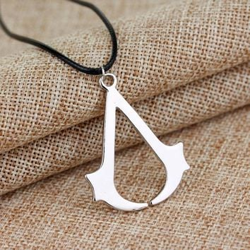 MQCHUN High Quality Stainless Steel Assassins Creed Necklaces & Pendants with Leather Rope Chain Game Necklace Kolye Collares