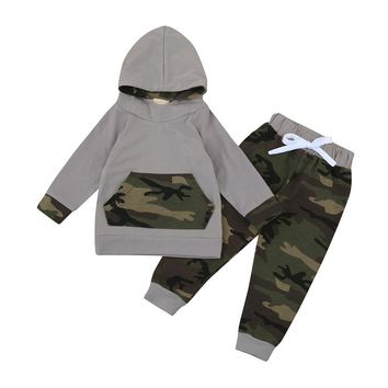 2pcs Baby clothes set Toddler Baby Boy Girl Clothes Camouflage Hoodie Tops+ Camouflage Pants baby Outfits drop shipping