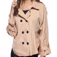 Pure Color Double-Breasted Loose Trench Coat