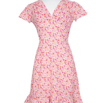 Betty Dress in Pink Petite floral Print