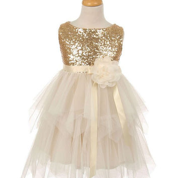 Sequin Mesh Holiday Dress with Satin Ribbon