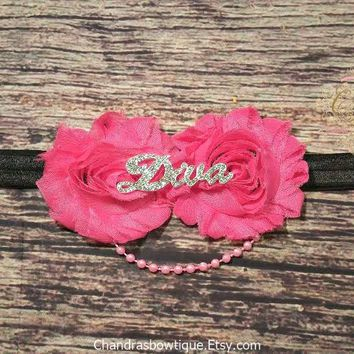 Hot Pink and Black Diva Headband / Baby Girl Headband / Toddler Headband / Baby Bow Headband / Girls Headband / Baby Hair Bow / Baby Gift