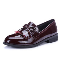 Full genuine leather round toe thick heel tassel bowtie design High quality Low-heeled Shoes Slip-On Loafers women flats